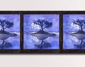 Set of 3 piece Lilac Lavender Purple Large print, Triptych Landscape Moon & Tree,  Home and  Wall decor