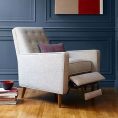 """Rhys Mid-Century Recliner #westelm, $799 plus 50 dollar delivery fee. would do two opposite the fireplace. 29""""w x 36""""d x 38.5""""h."""