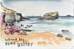 Saltwick Bay Whitby watercolour postcard by Sophie Peanut Watercolor Postcard, Watercolor Video, Watercolor Sketchbook, Pen And Watercolor, Art Sketchbook, Watercolor Paintings, Abstract Sketches, Learn To Sketch, Travel Sketchbook