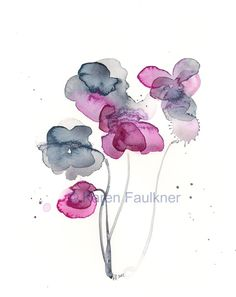 "Watercolor flowers, art print of indigo and magenta flowers: ""Frozen in Time"""