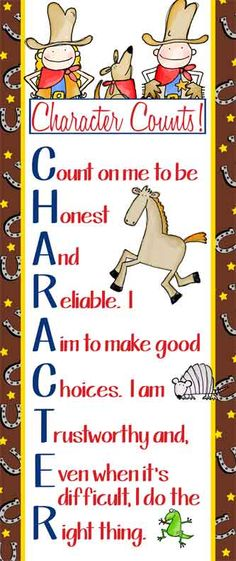 WESTERN Theme Classroom Decor / Character Education Banner / Large / Character Counts / JPEG / graphics by Lettering Delights / ARTrageous FUN