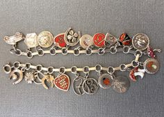 Antique Vintage Silver Enamel Charm Bracelet - Rare 1900's Art Deco & Art Nouveau Lucky 13, Ladybug, Heart, Mushroom, Clover, Angel Charms by eCharmony on Etsy https://www.etsy.com/listing/285538315/antique-vintage-silver-enamel-charm