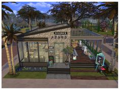 restaurant building This is another restaurant with a new design to own. Its a cozy place to enjoy the breakfast or enjoying the outdoor bar. hope you enjoy. Found in TSR Category Sims 4 Community Lots Sims 4 Restaurant, Outdoor Restaurant, Sims 4 House Building, Sims House Plans, Sims 4 House Design, Unique House Design, Diy Outdoor Bar, Outdoor Fire, Lotes The Sims 4