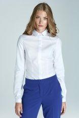 Biała Klasyczna Taliowana Koszula z Krytym Zapięciem