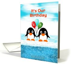 Penguin Mutual Birthday-Age 65-Balloons card. Change the cover text and inside message to fit your needs! Thank you customer in Victoria Australia!