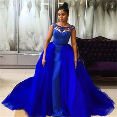 Find More Prom Dresses Information about Beaded Prom Dresses With Long Tulle Detachable Train 2016 A Line Scoop Neck Royal Blue Fuchsia Evening Gowns  Formal Party WH91,High Quality dress fancy,China dress wrestling Suppliers, Cheap dresse from Missu Wedding Dresses Store on Aliexpress.com