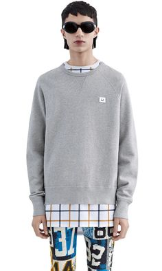 College sweatshirt with a face patch on the chest #AcneStudios #FW15 #menswear