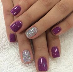 purple and holo silver accent nails