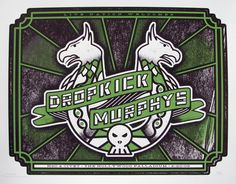 Dropkick Murphys concert poster  at the Hollywood Palladium- Hollywood  Feb 20. 2009  hand made two color silkscreen print  printed on nice heavy 80# natural cougar cover paper  poster measures 18 inches x 24 inches  hand signed & numbered edition of 75  artist: Andy Vastagh