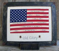 OOAK American Flag Stitchery Americana 4th of by WanderingWhimsies, $49.00