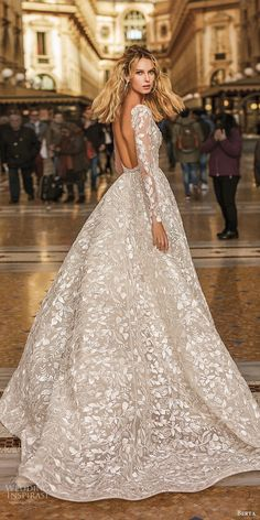 "Berta Spring 2020 Wedding Dresses — ""Milano"" Bridal Collection berta spring 2020 bridal illusion long sleeves deep v neck fully embellished a line ball gown wedding dress romantic elegant chapel train bv -- Berta Spring 2020 Wedding Dresses Rustic Wedding Dresses, Long Wedding Dresses, Bridal Dresses, Gown Wedding, Wedding Ideas, Wedding Cake, Bridal Collection, Dress Collection, Ball Dresses"