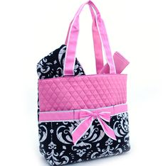Black And Pink Demask Quilted Diaper Bag By Fancydancyboutique 22 00 Personalized