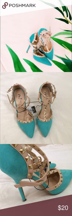 turquoise studded heals offers welcome turquoise heels that have studs. Could match with anything you'd like. Let me know if you have any questions Shoes Heels