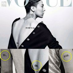 """here was a tattoo we didn't know about? """"GET_"""" [TO_GET_HER]✌ #voguekorea20thanniversary #GD #tattoo #together #GDRAGON @xxxibgdrgn @peaceminusone"""