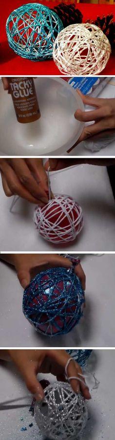 Yarn Ornament   20 + Last Minute DIY Christmas Hacks, Tips and Tricks   DIY Christmas Tree Decorations to Make