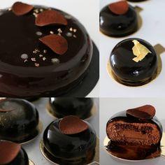 «בסיס פריך קקאו, קרמו שוקולד מריר-נענע, ביסקוויט שוקולד ספוג בסירופ קקאו-נענע, מוס שוקולד מריר-טונקה וגלסאז' קקאו»