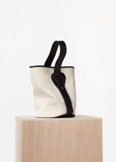 Small Canvas Bucket in Washed Canvas and Black Vegetal Calfskin - Céline
