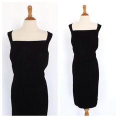 SIZE 18 LARGE Vintage Jessica McClintock Gunne Sax Black Velvet Mini Cocktail Dress Bombshell Mod 1960s Style Wiggle Dress Prom Party Dress