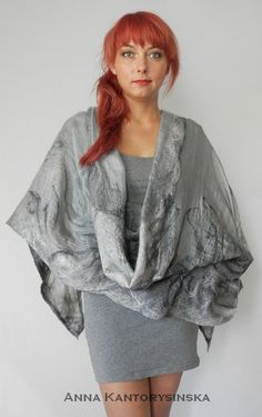 nuno felted silk scarf shawl wrap SHADOW handmade by kantorysinska, $154.00