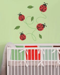 Lady bugs are the cutest insects in the world (fact). To make things interesting they fly and eat leafs (opinion). Buy this nursery wall decal now and and you'll have these cuties crawling all over your wall.