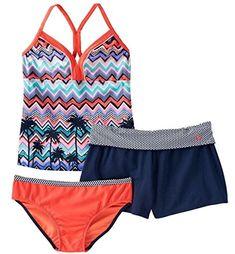 b830637602 Girls Plus Size ZeroXposur Tankini Swimsuit & Shorts Set, Girl's, Size: 14