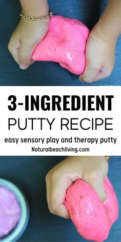 Putty Recipes for kids is a super easy way to create silly putty and Therapy Putty using common household ingredients. This DIY Putty recipe takes less than 5 minutes to make and kids LOVE squeezing, pulling, stretching, and playing with their Putty. How To Make Putty, Silly Putty Recipe, Homemade Silly Putty, Therapy Putty, Magnetic Spice Jars, 2 Ingredient Recipes, Discovery Bottles, Homemade Playdough, Sensory Bottles