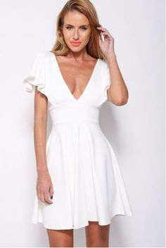 There is 1 tip to buy dress, white dress, cute, white, mini dress. Cute Casual Dresses, Dresses Short, Club Dresses, Sexy Dresses, Fashion Dresses, Ladies Dresses, Elegant Dresses, Summer Dresses, Ruffle Sleeve Dress