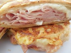 Weight watcher recipes..Monte cristo flatout sandwich by drizzle me skinny, 265 cal and 25g protein each!!! And so easy I can make this!