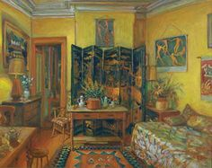 Margaret Olley (Australian painter) 1923 - 2011 aka Margaret Hannah Olley Yellow Room, Evening, 1995 oil on composition board 61 x 75 cm.) signed 'Olley' lower right private collection Australian Painters, Australian Artists, Inside Art, Art Auction, Beautiful Paintings, Art Images, Art Decor, Illustration Art, Drawings