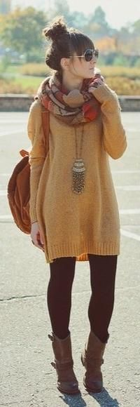 big sweater, big scarf and boots