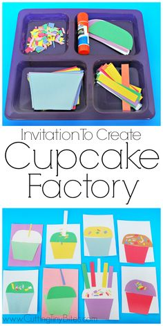 Invitation To Create: Cupcake Factory. Open ended creative craft for kids. Great for color recognition & fine motor development. Perfect for toddlers and preschoolers. Crafts Invitation to Create: Cupcake Factory Toddler Learning, Toddler Fun, Toddler Preschool, Toddler Crafts, Preschool Activities, Crafts For Kids, Art Activities For Preschoolers, Quiet Time Activities, Craft Kids