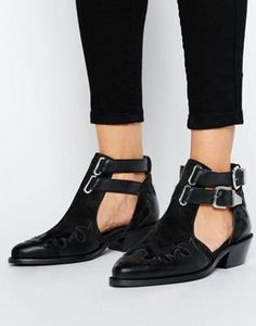 ASOS ARROW Leather Western Cut Out Boots