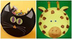 25.  Paper Plate Cat Treat Holder ~ (On the left) ~ This would make a terrific school Halloween party craft.  It can also double as a container to take treats home in.