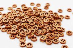 10 Mini Coffee Brown Wooden Button Four by boysenberryaccessory
