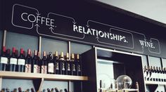 In store graphic signage for Bar Coffee Shop - Black White Red