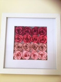 Stampin' Up! Spiral Flower Die Home Decor Frame made by Belinda Brown. Colours: Rose Red, Strawberry Slush, Blushing Bride and Pink Pirouette.