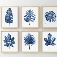 Navy blue Denim Watercolor Tropical Leaves. Available in a set of 4 as well.