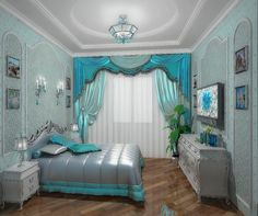 I love the curtains and the lights. Bedroom Themes, Bedroom Decor, Floor Design, House Design, Turquoise Room, Master Room, Aesthetic Rooms, Dream Rooms, Cool Rooms