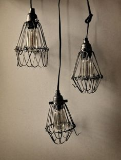 DIY Industrial Pendant Lamps | Shelterness Industrial lights don't have to be used. I could use wire to mold around other shades I like or twine or string can be used in this style also.
