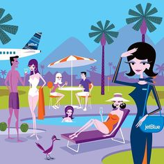 Palm Springs, Josh Agle / Shag (Image created for JetBlue and the Palm Springs Convention and Visitors Bureau, 2015)