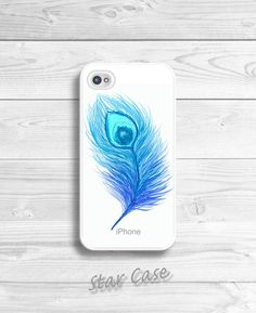 iPhone 4/ 4s 5 Case - Cell Phone Cover - Watercolor Peacock Feather - iPhone HardCase - Girly Fashion - Aqua Blue Peacock Feather N2 on Etsy, $19.99