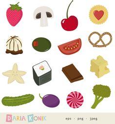 Snacks Clip Art Set instant download food clipart by dariakonik, €2.50