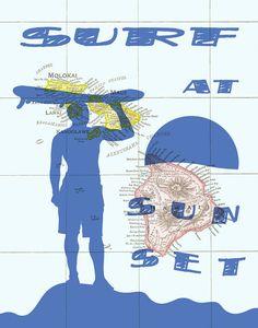 Hawaii Surfing Art Map SUN-FLY-KITESURF Sport art by PrintCorner