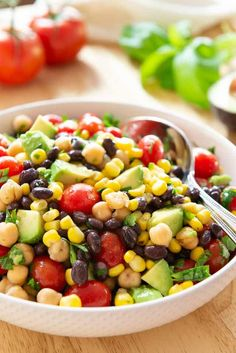 Five Approaches To Economize Transforming Your Kitchen Area Avocado Corn Bean Salad - So Fresh And Also Avocado Bean Salad, Corn And Bean Salad, Soup And Salad, Crab Salad, Shrimp Salad Recipes, Healthy Salad Recipes, Vegetarian Recipes, Vegetarian Breakfast, Vegan Meals