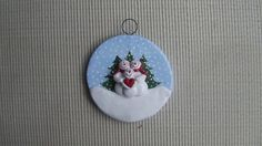 Family of 3 ~ hand sculpted polymer clay snowman family ornament