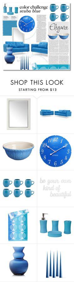 """#colorchallenge - Scuba blue"" by nucasa ❤ liked on Polyvore featuring interior, interiors, interior design, home, home decor, interior decorating, Universal Lighting and Decor, Mason Cash, NeXtime and Sabichi"