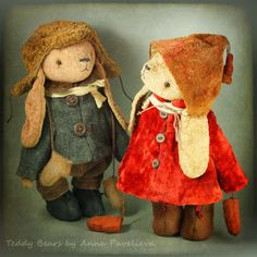 Анюткин сундучок. Мишки Тедди и куклы Анны Павельевой: Ванюшка и Танюшка. Зайчики :)