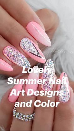 Lovely Summer Nail Art Designs and Color Glitter French Nails, Fancy Nails, Cute Nails, Purple Nail Art, Pretty Nail Art, Pink Nails, Diy Nails Manicure, Diy Acrylic Nails, Nail Art Stencils