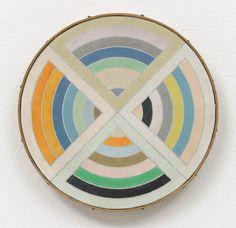 "Richard Pettibone (American, born 1938) Frank #Stella, ""Sinjerli II,"" 1967 Date:    1971 Medium:    Synthetic polymer paint on canvas Dimensions:    6 3/16"" (15.7 cm) diameter x 1/2"" (1.3 cm)"