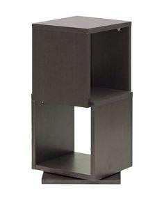 Baxton Studio Ogden 2-Level Rotating Bookshelf, Espresso